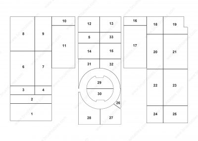 AMADA EMK-3610 TURRET REPLACEMENT BRUSH PANELS LAYOUT DIAGRAM