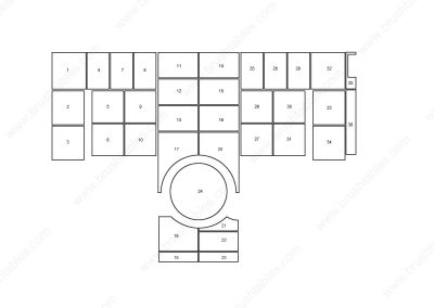 AMADA VIPROS 357 QUEEN TURRET REPLACEMENT BRUSH PANELS LAYOUT DIAGRAM
