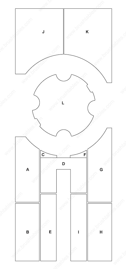 LVD STRIPPIT GLOBAL 20 TURRET REPLACEMENT BRUSH PANELS LAYOUT DIAGRAM